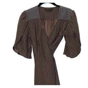 BCBG silk wrap dress reminiscent of the late 60's